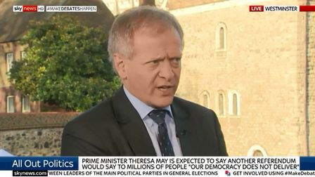 Phillip Lee MP is interviewed by Adam Boulton on Sky News. Photograph: Sky.