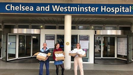 Bella and Pam delivered their first 100 care packages on April 18. Picture: Care Packages UK
