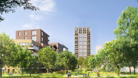 An artist's impression of the new homes on the Woodberry Down Estate. Picture: Hackney Council