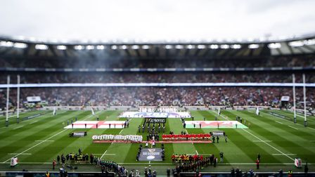 England and Wales line up for the Guinness Six Nations match at Twickenham Stadium