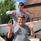 Mike Clark's hair was given a lockdown trim by his son Oli. Picture: Beatrix Clark