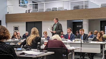 Cllr Richard Olszewski (Lab, Fortune Green) delivers Camden's budget for 2020/2021. Picture: Sam Vol