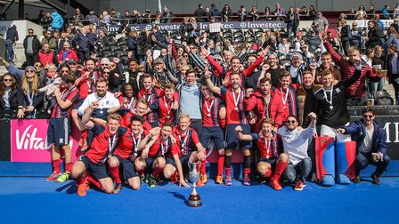 Hampstead & Westminster celebrate being crowned champions of England (pic Mark Clews)