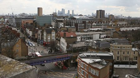 Views from St Augustine's Tower, looking down on Mare Street and Hackney Central Station and the cit