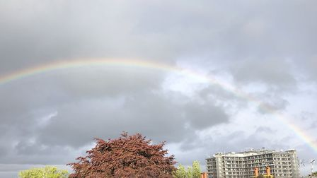A rainbow over the Royal Free Hospital in Hampstead. Picture: Liz Berman