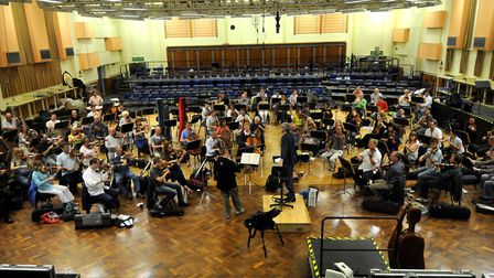 Violinist Nigel Kennedy rehearses with the BBC Concert Orchestra at Maida Vale Studios in 2008, ahea