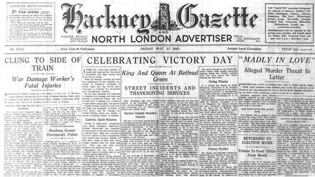 "The front page of the Gazette after VE day. It reads: ""After the trials and horrors of nearly six ye"