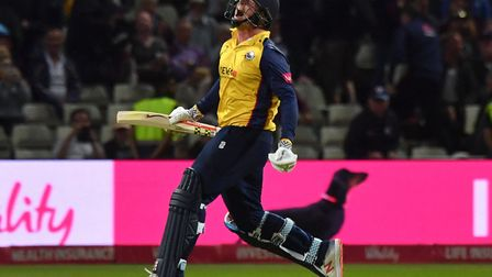 Essex Eagles' Simon Harmer celebrates hitting the winning runs during the Vitality T20 Blast Final a