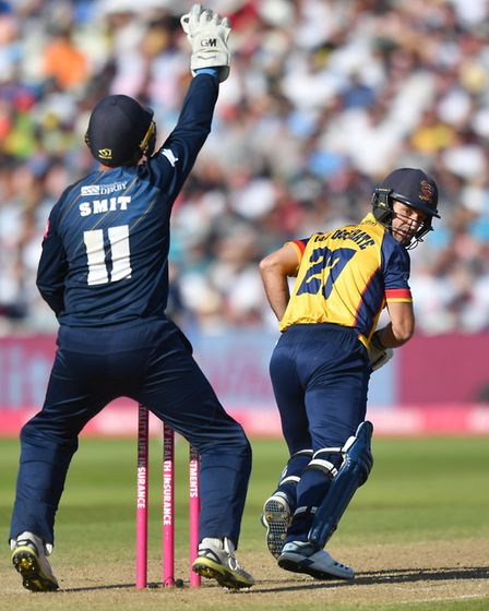 Essex Eagles' Ryan ten Doeschate is given out lbw during Semi Final 2 on Finals Day of the Vitality