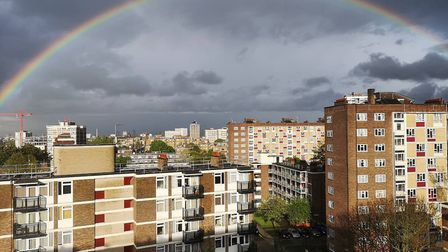 A Hackney resident captures a rainbow over Hoxton reflecting the colourful drawings children have pu