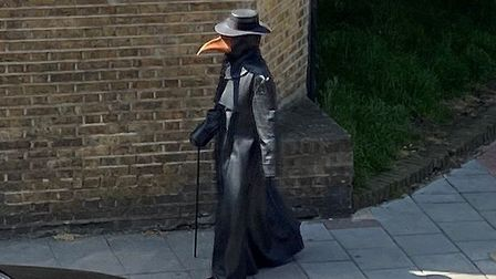 Crouch End's 'plague doctor' pictured on May 7. Picture: Chloe McLaren