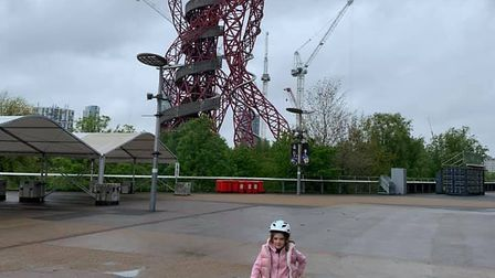 Seven year old Pepa Lorente cycled 100 miles in ten days for charity . Picture: Eleanor Bembridge