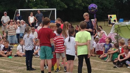 Children, parents, staff and governors at Blundeston CEVCP School bid a fond farewell to Kate Schonh