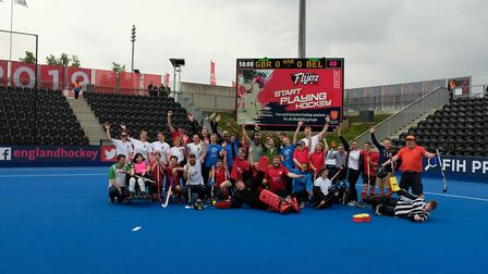 Flyerz Hockey members at a Pro League match at the Lee Valley Hockey & Tennis Centre