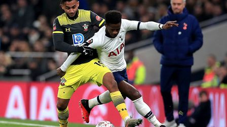 Southampton's Sofiane Boufal (left) and Tottenham Hotspur's Ryan Sessegnon (right) battle for the ba
