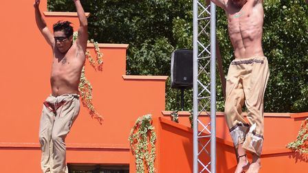 Divers thrill the crowd in the new Magical Mayan Temple high dive show at Pleasurewood Hills. Pictur