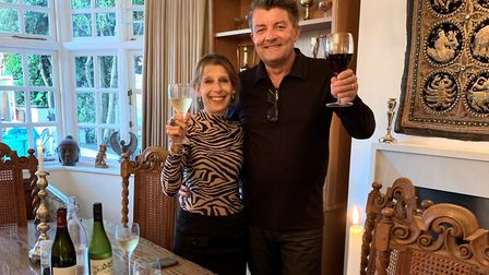 Beatrix and Mike Clark enjoying a birthday dinner courtesy of a generous friend. Picture: Beatrix Cl