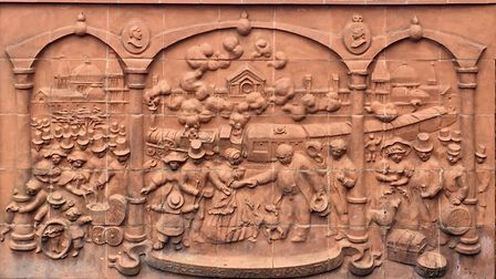 A relief outside Harringay Green Lanes train station by Judith Bluck