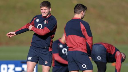 England's Owen Farrell (left) during a training session at Pennyhill Park, Bagshot.