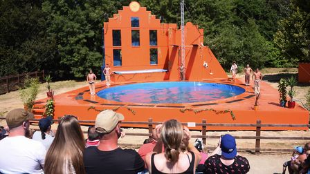 The new Magical Mayan Temple high dive show at Pleasurewood Hills. Picture: DENISE BRADLEY