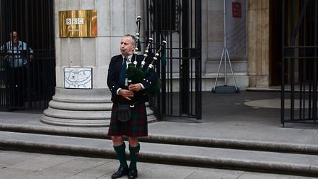 David playing outside Bush House in 2012 to thank the BBC World Service Programme atfer it ceased pr