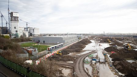 Building works at Old Oak Common in west London where underground platforms for HS2 will link with E
