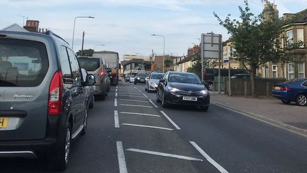 Traffic on Bridge Road in Oulton Broad as gas works are carried out. Picture: Amy Smith.
