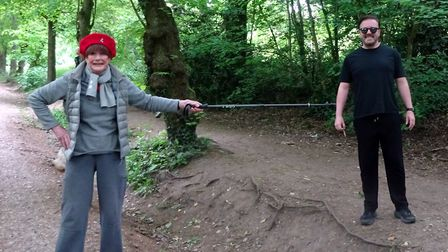 Angela Humphery met Ricky Gervais on one of her daily walks with husband Martin. Picture: Angela Hum