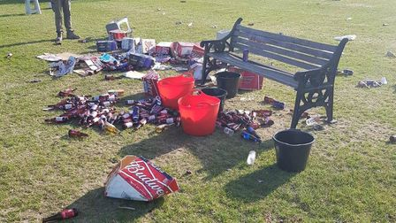 Council park workers were left to clean up after people partying on Hackney Marshes left heaps of ru