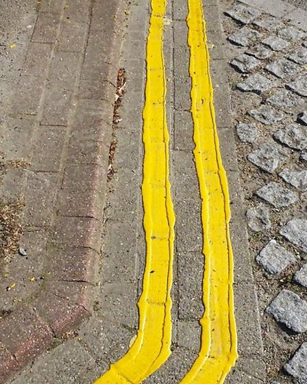 A messy new yellow line in Church Road, N6. Picture: Highgate Society