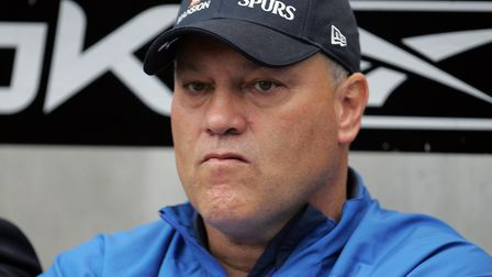 Tottenham manager Martin Jol watches his team ahead of the Barclays Premier League match at the Reeb