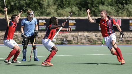 Richard Wijtenburg-Smith celebrates a goal for Hampstead & Westminster in the EHL (pic Mark Clews)