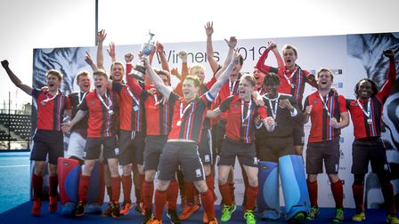 Hampstead & Westminster celebrate being crowned champions of England in 2019 (pic Mark Clews)