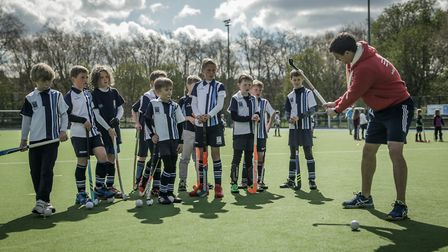 Richard Wijtenburg-Smith coaching Hampstead & Westminster youngsters (pic Mark Clews)
