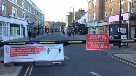 Street closure at Broadway Market. Picture: Hackney Council