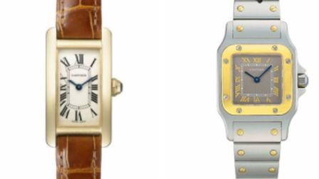 A Tank Americaine SM Yello Gold and a Santos Galbee SM Yellow Gold were among the Cartier watches st