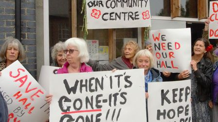 """When it's gone, it's gone"" - placards outside the Highgate Newtown Community Centre last week. Pict"