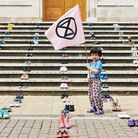 Extinction Rebellion Hackney went to Hackney Town Hall with 600 pairs of shoes as a demonstration. P