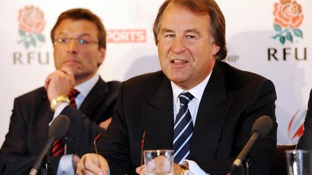 Former RFU chief executive Francis Baron (right) and then Director of Elite Rugby Rob Andrew during