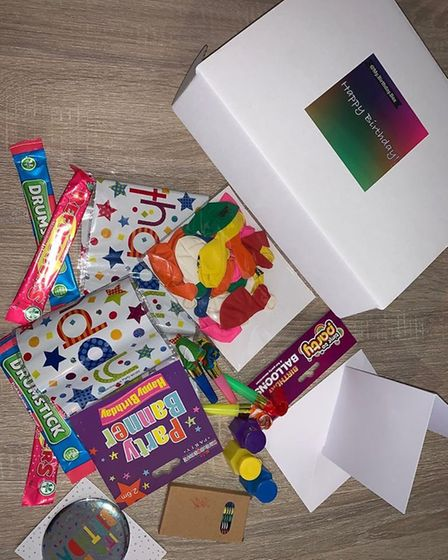 The birthday boxes contain all the things needed to celebrate a birthday. Picture: Andreena and Ren