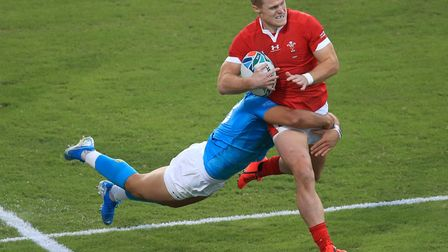 Wales' Aled Davies is tackled during the 2019 Rugby World Cup match at the Kumamoto Stadium (Pic: Ad