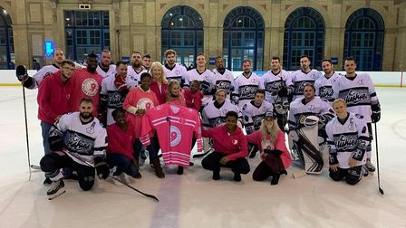 Haringey Huskies turned their kit pink for the Alexandra Wylie Tower Foundation last season (pic AWT