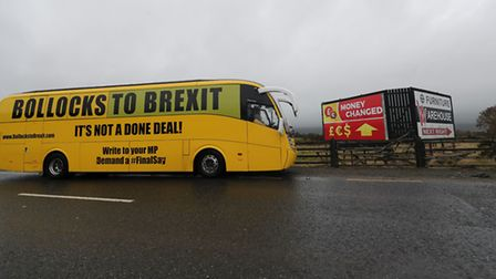 """The """"Bollocks to Brexit"""" campaign bus crosses the border from Ravendale in Co Louth into Northern Ir"""