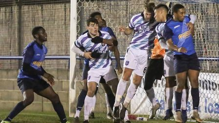 Wingate & Finchley in action against Margate earlier this season in the Trophy (Pic: Martin Addison)
