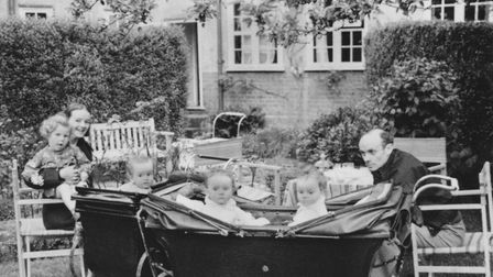 Barbara Hepworth and Ben Nicholson with their triplets in the Moholy-Nagy's garden