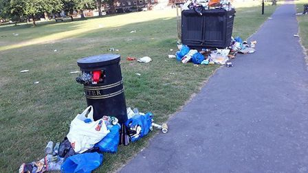 Litter in London Fields over the weekend. Picture: Hackney Council