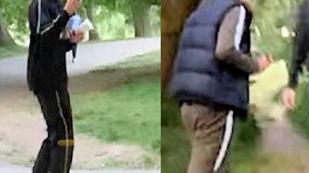 Police wish to speak with these two men, part of a group of four, over the reported incident. Pictur