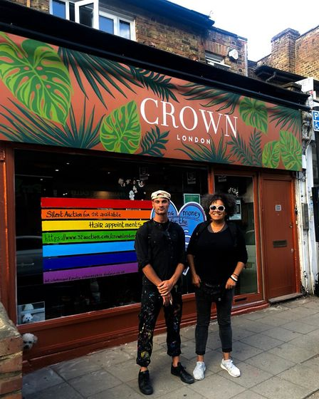 Roots the dog and the team at Crown London Crouch End led by owner Jay Lefevre