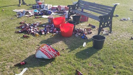 The aftermath of the party on Hackney Marshes on May 18. Picture: Hackney Council