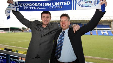Peterborough United owner Darragh MacAnthony poses with former manager Darren Ferguson (right) (Pic: